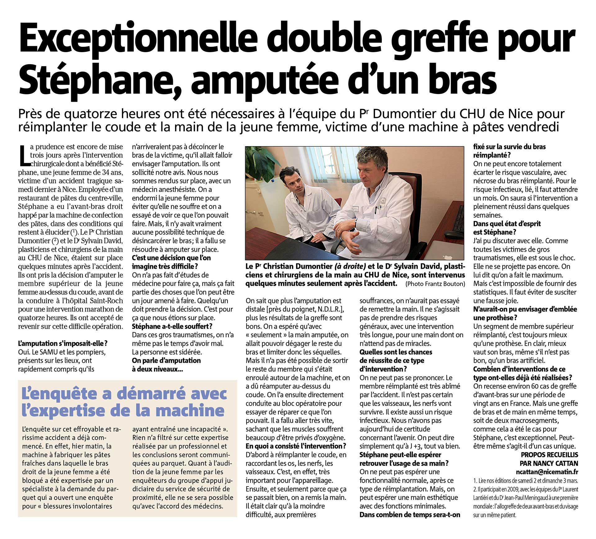 opération double greffe Nicematin